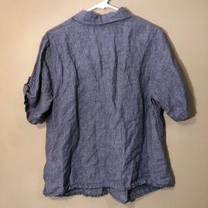 Flax Tops - Flax | Button Down Linen Top Blue Sz M